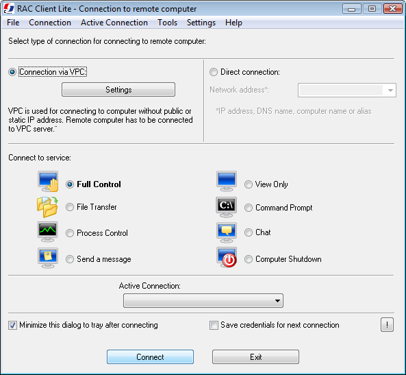 Click to view Remote Administrator Control Client Lite 5.0.1.0 screenshot