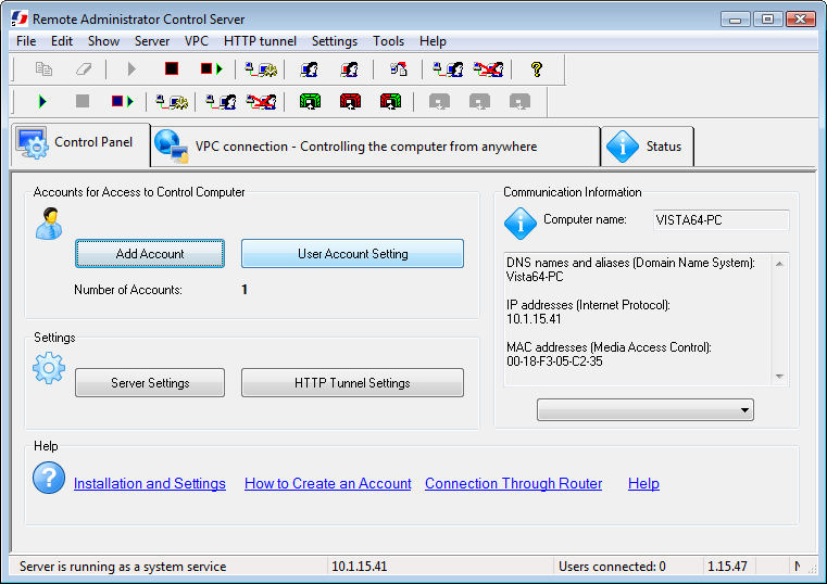 Click to view Remote Administrator Control Server 3.4.1 screenshot