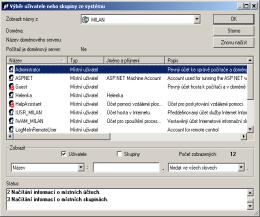 Pro přístup k serveru je možné využít systémových a doménových účtů. RAC - vzdálená plocha, vzdálená správa, vzdálený přístup, vzdálená podpora a pomoc.