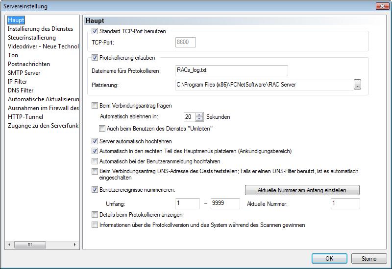 PCNetSoftware - RAC Server - Beispiele (Screenshots)
