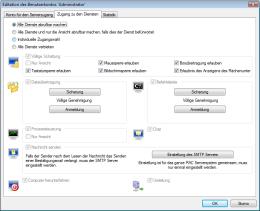 Individuelle Einstellung des Benutzerzugangs zu den einzelnen Diensten. RAC – Remote Desktop, Fernwartung, Fernzugriff und Remote Support.