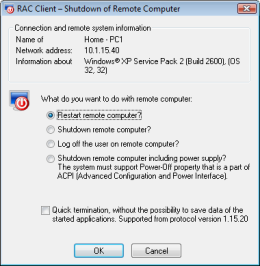 Remote computer shutdown. RAC – Remote Desktop, Remote Access, Remote Support, Service Desk, Remote Administration.
