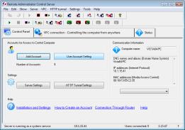 Main window. RAC – Remote Desktop, Remote Access, Remote Support, Service Desk, Remote Administration.