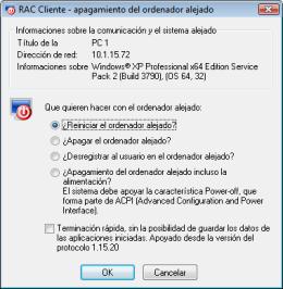 Apagamiento alejado del ordenador. RAC - Software para el control remoto del PC y de la administración alejada.
