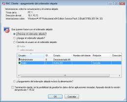 Apagamiento alejado del ordenador con el sistema operacional Windows®. RAC - Software para el control remoto del PC y de la administración alejada.